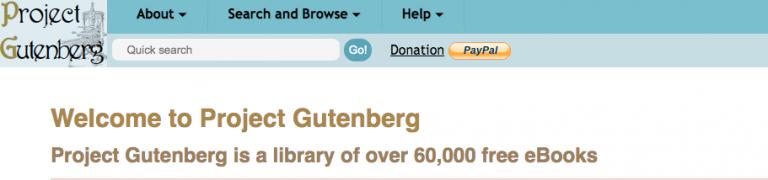 Project Gutenberg dashboard