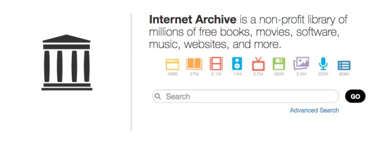 Internet Archive dashboard